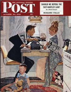 "The Saturday Evening Post Cover ""Breakfast Table Political Argument,"" based on the above photo by Gene Pelham."