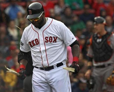 In a moment of frustration, Boston Red Sox designated hitter David Ortiz snapped his bat into two pieces after lining out in the eighth inning against the Baltimore Orioles. May 5, 2012.
