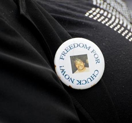 SPRINGFIELD, MASS. -- (May 5, 2012) -- this is a pin worn by Charles Wilhite's mother, Sheild R. Drungo, at an afternoon rally to support Wilhite who was convicted in the 2008 killing of Alberto Rodriguez. The rally addressed the issue of whether Wilhite is an innocent man wrongly convicted. PHOTOGRAPH BY NANCY PALMIERI
