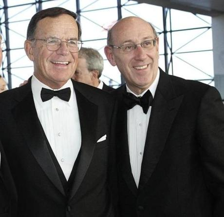 5-6-2012 Dorchester,Mass. 450 guests attended Kennedy Library Foundation Dinner held at the JFK Library in Dorchester. L. to R. are Former US Senator Paul Kirk and Kenneth Feinberg, Chairman of John F. Kennedy Library Foundation. Globe photo by Bill Brett