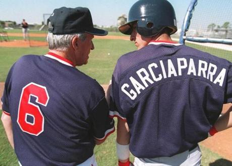 Pesky was a fixture at spring training, where he liked to work with young players. Here, he chatted with Nomar Garciaparra in 1995.
