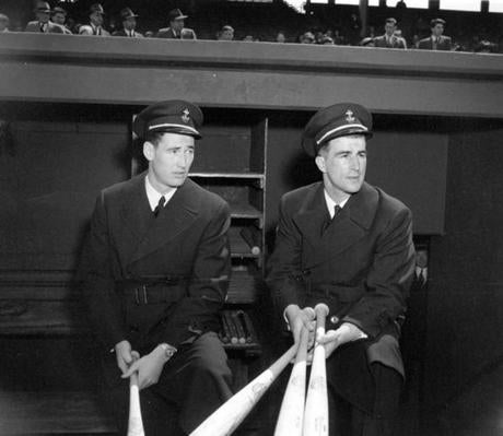 Pesky, right, with Ted Williams, left the Red Sox after his rookie season to spend three seasons in military service. He returned in 1946 and led the team in hits in his first three campaigns.
