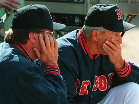 In 1995 and 1996, Red Sox manager Kevin Kennedy, left, often called on Pesky for advice.