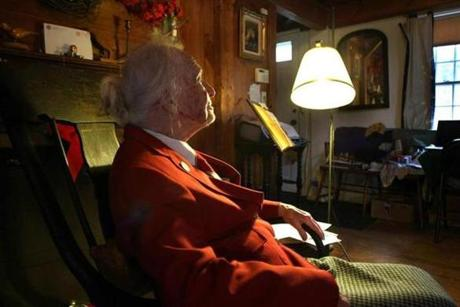 Eleanor Norris, 100 years old, at her Norwell home, is known for her generous contributions to help preserve open spaces in town. (Dec. 6, 2011)