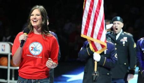 5-16-12: Philadelphia, PA: Ayla Brown sang the national anthem before the game. The Boston Celtics visited the Philadelphia 76ers in Game Three of the NBA Eastern Conference Semi-Finals Playoffs at the Wells Fargo Center. (Globe Staff Photo/Jim Davis) section: sports topic: Celtics-Sixers