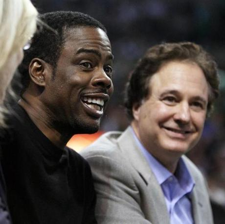 5-21-12: Boston, MA: Comedian Chris Rock sits courtside with Celtics co-owner Steve Pagliuca (right) in the first half. The Boston Celtics hosted the Philadelphia 76ers for Game Five of the NBA Eastern Conference Semi-Finals playoffs at the TD Garden. (Globe Staff Photo/Jim Davis) section: sports topic: Sixers-Celtics