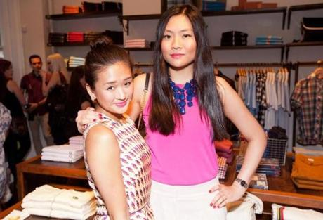 5/24/12 Boston, MA -- From left, Natalie Chu, of Boston and blogger at BeantownsBarbie.blogspot.com and Jennifer Luong of Boston at the opening party for Fred Perry on Newbury St. May 24, 2012. Erik Jacobs for the Boston Globe