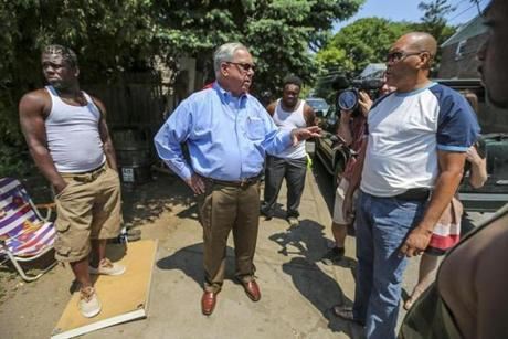 Menino spoke with Orlando Street residents May 28, 2012 in Mattapan after a shooting that left four injured. A 2013 Globe poll showed 49 percent of Bostonians have met Menino.