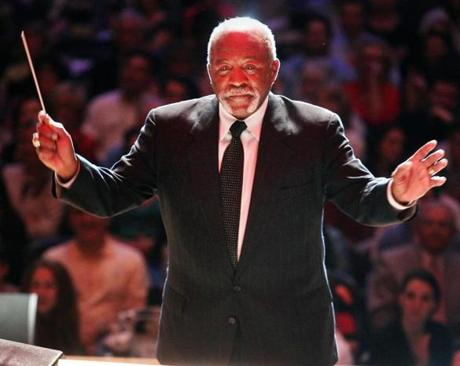 Former Red Sox pitcher Luis Tiant conducted the Boston Pops during Red Sox Night, part of the Pops City of Champions series.
