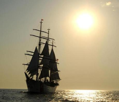 The USCG Barque Eagle, a training ship, docked on May 28, 2012 at New York Harbor, then sailed to Norfolk, VA.