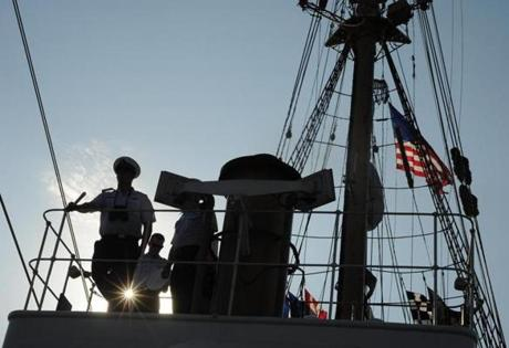 The USCG Barque Eagle, a training ship, leaves New York Harbor on May 28, 2012 enroute to Norfolk, VA.