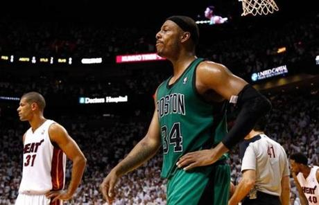 Paul Pierce reacted after he fouled out late in the fourth quarter. He finished with 21 points.