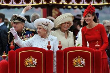 From left to right, Prince Philip, The Duke of Edinburgh, Queen Elizabeth II, Camilla, Duchess of Cornwall, and Kate onboard the