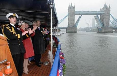 Prince Edward, Earl of Wessex (left), and Sophie, Countess of Wessex, reacted to a musical performance aboard the