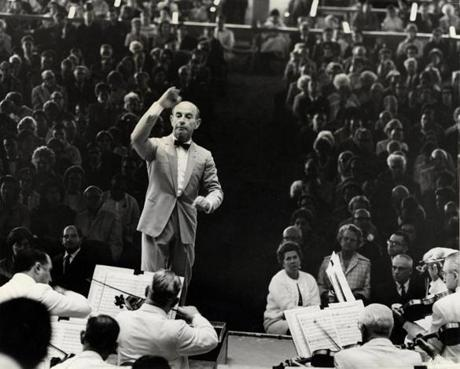 Erich Leinsdorf, music director of the BSO, conducts at Tanglewood in 1965.