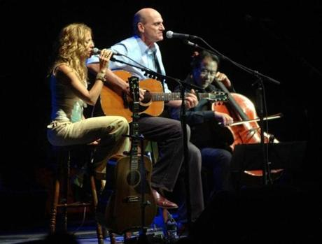 "Sheryl Crow, James Taylor, and Yo-Yo Ma perform ""Fire and Rain"" at Tanglewood on August 28, 2009."