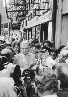 "June 28, 1978: Boston Deputy Supt. John Barry, in plain clothes, listened as Boston Det. Lt. Jerome McCallum spoke to reporters at a press conference outside the Blackfriars Pub where the five bodies had been found that morning. Interestingly, the FBI's Organized Crime Squad had been investigating Solmonte and the Blackfriars, and among the investigators was now-disgraced FBI Agent John Connolly, presently serving time in connection with his relationship with James ""Whitey"" Bulger."
