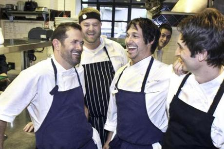6-5-2012 Boston, Mass Clio Restaurant celebrates 15th anniversary party with Chefs Tony Maw, of Craigie on Main in Cambridge, Sam Sam Gelman, Momofuko, Canada, Honored guest Ken Oringer and Alex Stupak, Empellon, Empellon Cocina, NY. Globe photo by Bill Brett