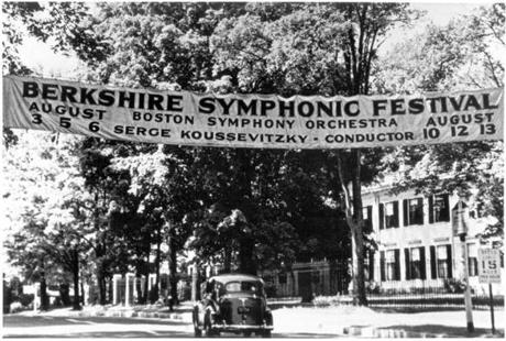 A Berkshire Symphonic Festival Banner hangs above the road in Lenox, Mass. (BSO)