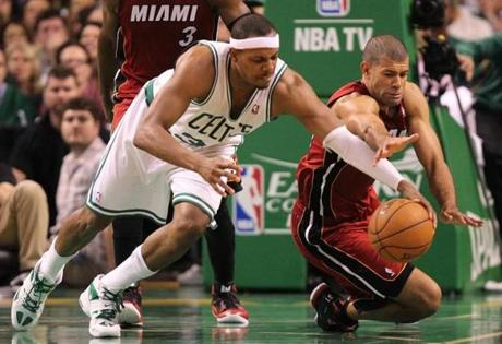 Paul Pierce chased for a loose ball with Miami's Shane Battier.