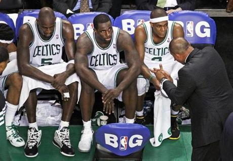 Celtics coach Doc Rivers tried to rally his troops during a fourth quarter timeout.