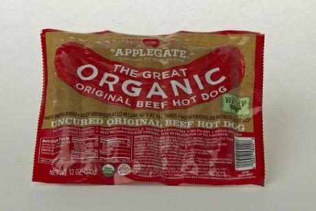 "Applegate The Great Organic Original (Beef Hot Dog 7 links/12 oz./$4.99 at Trader Joe's); comments . . . ""Hearty."" ""Rubbery."" ""Doesn't really taste like a hot dog."""