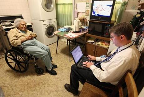 Dr. Daniel Oates, with the Boston Medical Center Geriatrics Section, visited elderly patients in their homes. May 24, 2012.