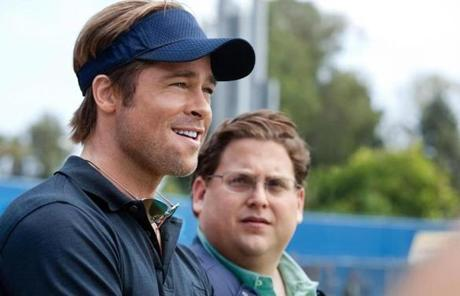 "Brad Pitt (with Jonah Hill) as Billy Beane in ""Moneyball."""