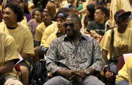 BOSTON ,MA 06/ 22/ 2012: Five hundred or so participants of the MLK Summer Scholars program with David Ortiz seated front row with the kids was at the kick off in the Agganis Arena at Boston University. ( David L Ryan / Globe Staff Photo ) SECTION: METRO TOPIC 26mlkscholars