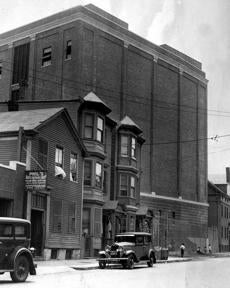 The new Sumner tunnel ventilation plant on the tube's East Boston Noddle Island end, at Liverpool and Maverick Streets, takes delivery June 28, 1933 of $34,000 worth of fans purchased from Buffalo. There would be a corresponding ventilating plant at Fleet and North Streets on the Boston side. These fans on either end of the mile-long tunnel could shoot a volume of 1,000,000 cubic feet of fresh air per minute into the newly constructed tunnel.