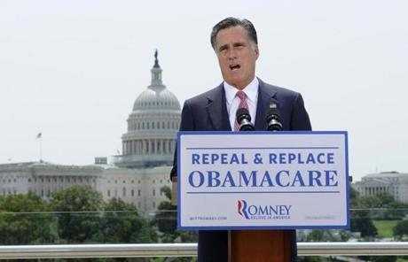 Presidential candidate Mitt Romney said the ruling shows that Republicans must defeat Barack Obama to overturn his health care overhaul.