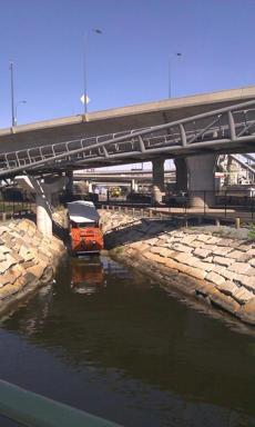 The new $10 million North Bank Bridge under the Zakim connects parks in Cambridge and Charlestown for bikers and pedestrians.