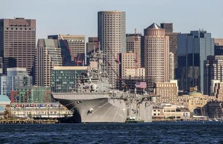 The USS Wasp sat docked in Boston Harbor on Saturday.