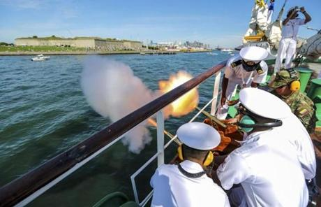 Two small canons were fired from the port side of the ARC Gloria as it passed Castle Island.