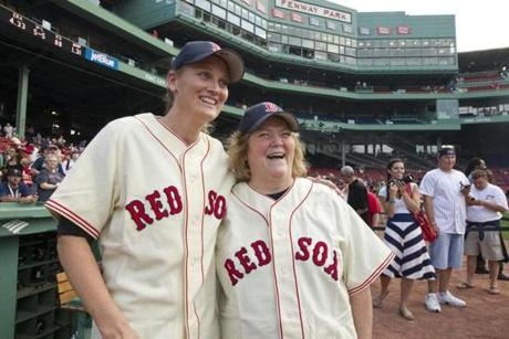 7/8/12 Boston, MA Claudia Williams (cq), left (daughter of Ted Williams) and Linda Ruth Tosetti (cq) (granddaughter of Babe Ruth) pose for a picture before the Boston Red Sox play the New York Yankees at Fenway Park on Sunday July 8, 2012. Tosetti and Williams threw out the ceremonial first pitch. (Matthew J. Lee) slug: 09redsox section: sports reporter: