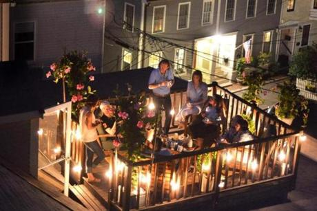 Guests enjoyed a roofdeck garden party thrown by chef Tiffani Faison at the home of Dominick Doyle and Cary Lynch in Charlestown.