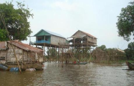 Stilt houses rose above the water in Kampong Phluk.