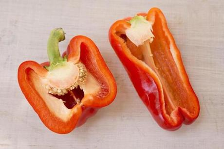 Choose peppers that feel heavy for their size, a good indicator of thick flesh.