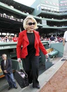 CAN WE PLAY? Joan Rivers after a visit to the Red Sox dugout, Fenway Park on July 19