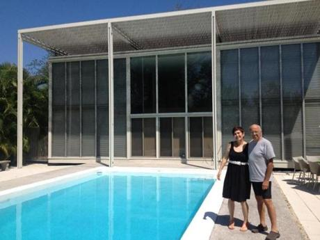 "Owners Julie and Vinny Ciulla plan to extend the house's trellis-like wooden cover (""umbrella"") to shade the pool."