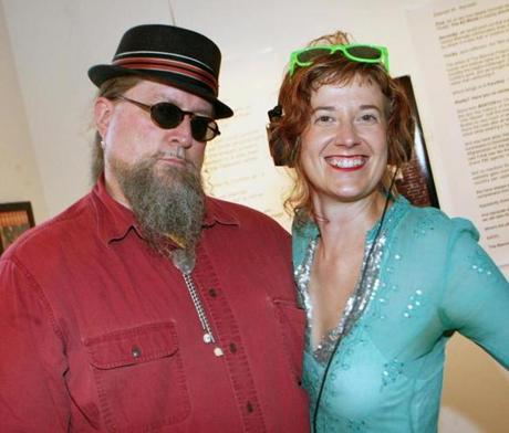 BAZAAR BIZARRE: Mitchel Ahern of Swampscott and Sonia Domkarova of East Boston at the opening for Bizarre Artist Happenings in East Boston, Atlantic Works Gallery
