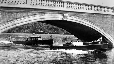 Metropolitan Police boats patrolled the Charles River on July 3, 1949 in advance of the opening of the 21st season of Esplanade concerts on July 4th. Governor Paul Dever addressed the opening night crowd welcoming them to the Esplanade. Estimates placed the attendance in the vicinity of 20,000 and the fireworks were launched from the Boston Common.