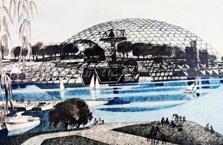 Jan Wampler's plan for the 1976 Expo included a dome on Thompson Island.