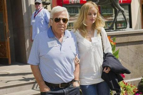 New England Patriots owner Robert Kraft used humor in a statement he issued this month after a video of him reading lines to bikini-clad actress Ricki Noel Lander.
