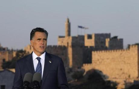 Romney delivered the controversial speech in front of the Old City of Jerusalem.