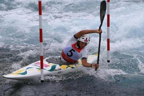 Jessica Fox of Australia competed in the women's kayak single (K1) slalom.
