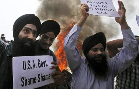 Members of the Sikh faith protested in Jammu, India, on Monday.