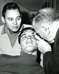 September 7,1967:  Conigliaro was examined by Dr. I Francis Gregory at Sancta Maria Hospital 3 weeks after being hit by the pitch.  Conigliaro registered 20/100 when the eye was tested, normal vision being 20/20. He suffered permanent damage in his retina that affected his vision. Tony C was batting .287 with 20 home runs when he suffered the fractured cheekbone on August 18. Looking on is teammate Jose Santiago, a pitcher who was hit in the left eye by a stray ball during recent batting practice. He was cleared to pitch.