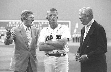 Pesky, center, appeared with former Red Sox players Eddie Pellegnino, left, and Charlie Wagner at Fenway Park in 1995.