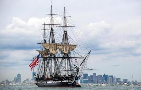 The USS Constitution in Boston Harbor.